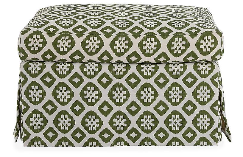 Edwardian Ottoman, Hunter Green/Ivory Linen