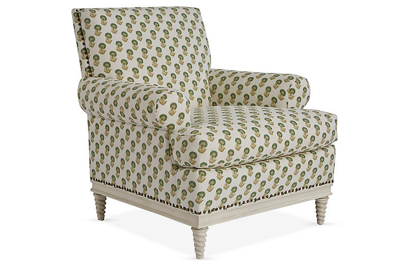Paris Club Chair, Spring Green/Ivory