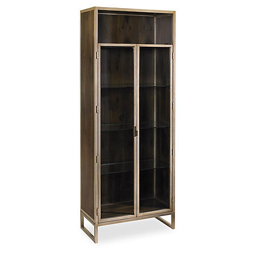 Vision Cabinet, Fumed Oak/Matte Gold