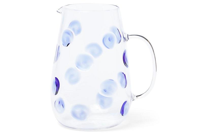 Drop Pitcher, Clear/Blue