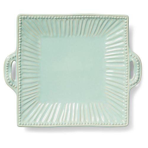 Incanto Stone Striped Square Platter, Aqua