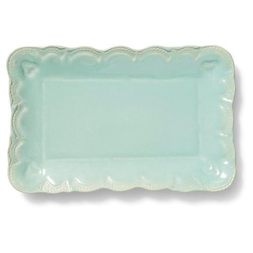 Incanto Stone Lace Rectangular Platter, Aqua