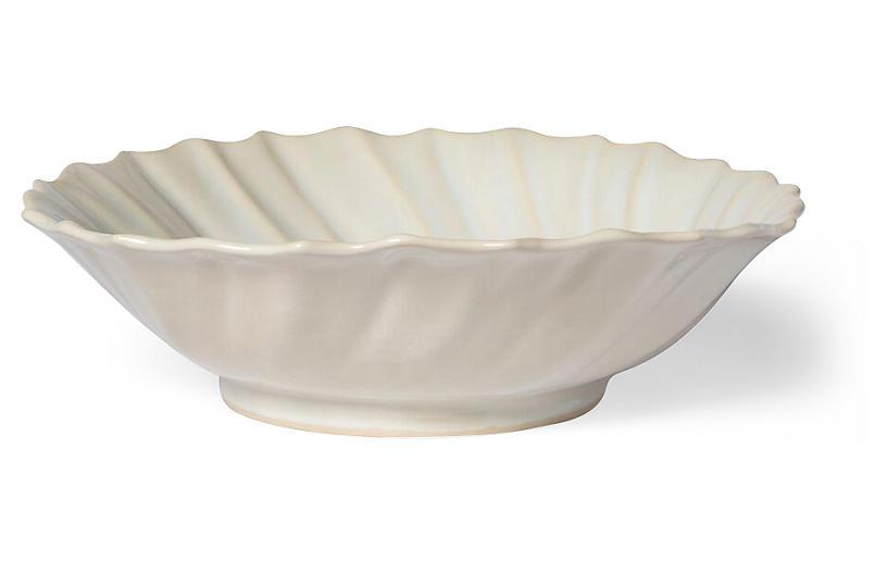 Incanto Stone Ruffled Serving Bowl, Linen