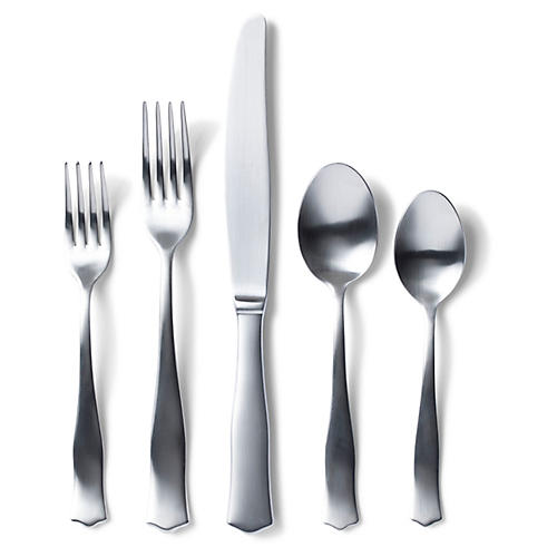 5-Pc Borgo V Place Setting, Matte Silver