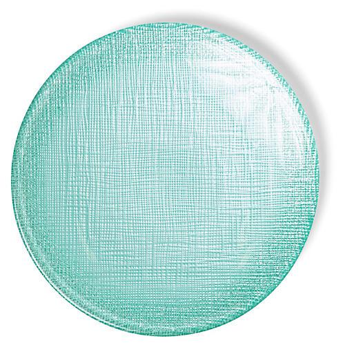 Glitter Canapé Plate, Aqua