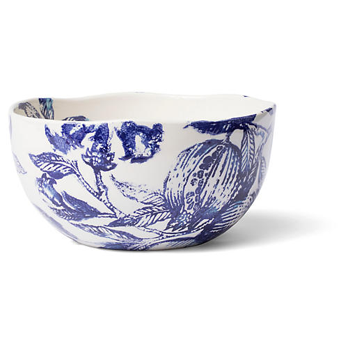 Melagrana Deep Bowl, Blue/Ivory