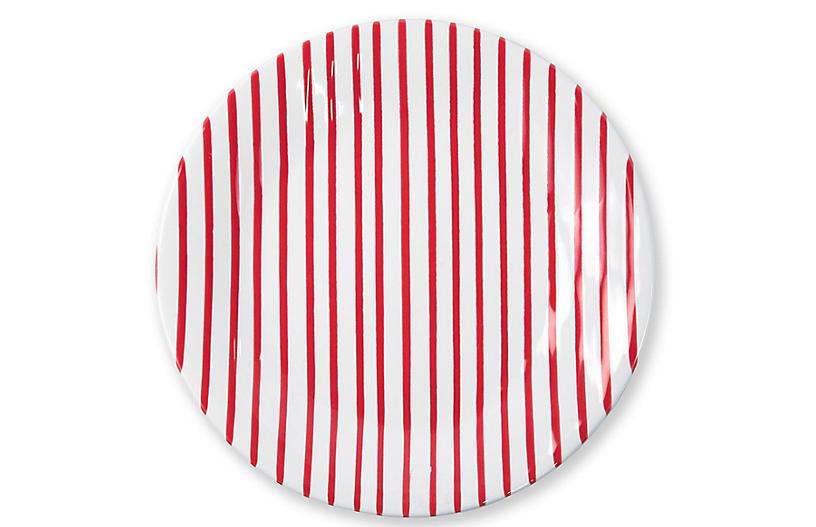 Stripe Dinner Plate, Red