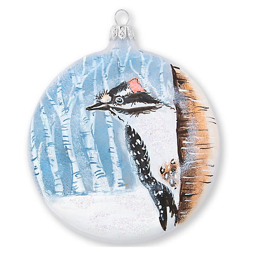 Into the Woods Woodpecker Ornament, Blue