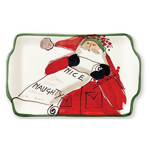Old St. Nick Naughty or Nice Plate, White