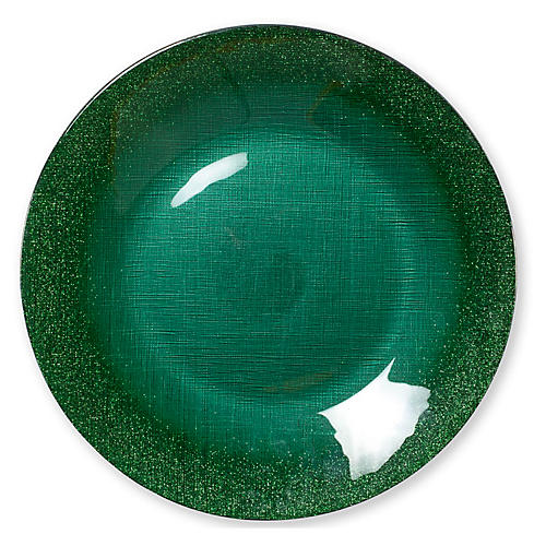 Glitter Glass Charger, Emerald