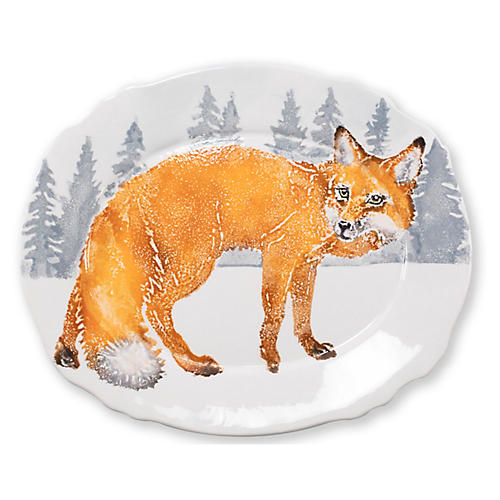 Into the Woods Fox Oval Platter, White