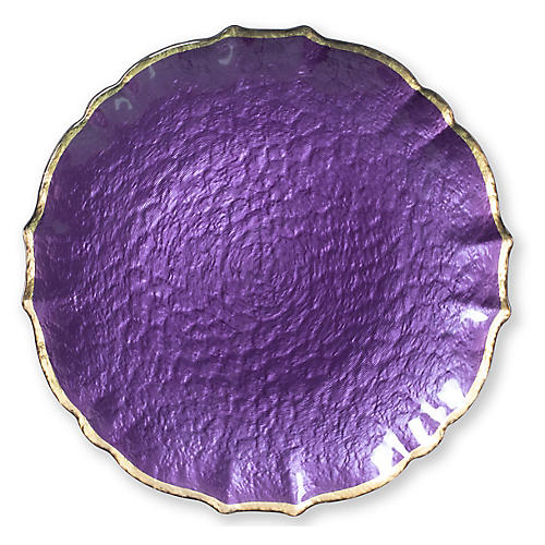 Pastel Glass Salad Plate, Purple