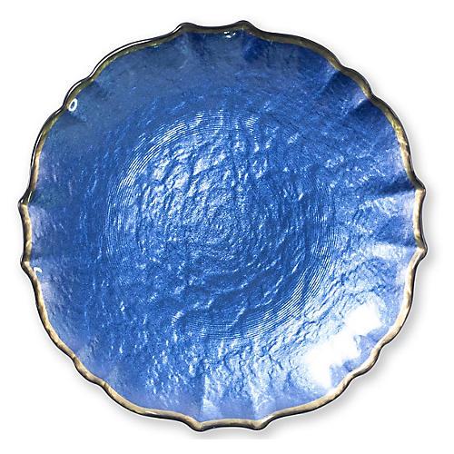Pastel Glass Salad Plate, Cobalt