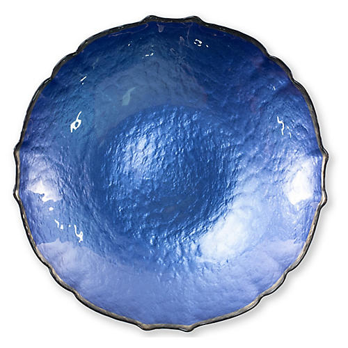 Pastel Glass Medium Bowl, Cobalt