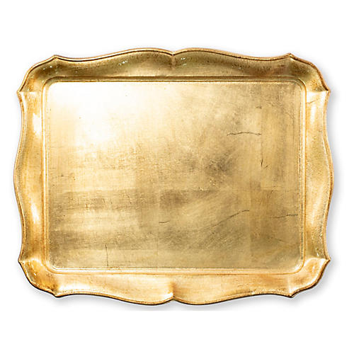 Florentine Rectangular Tray, Gold