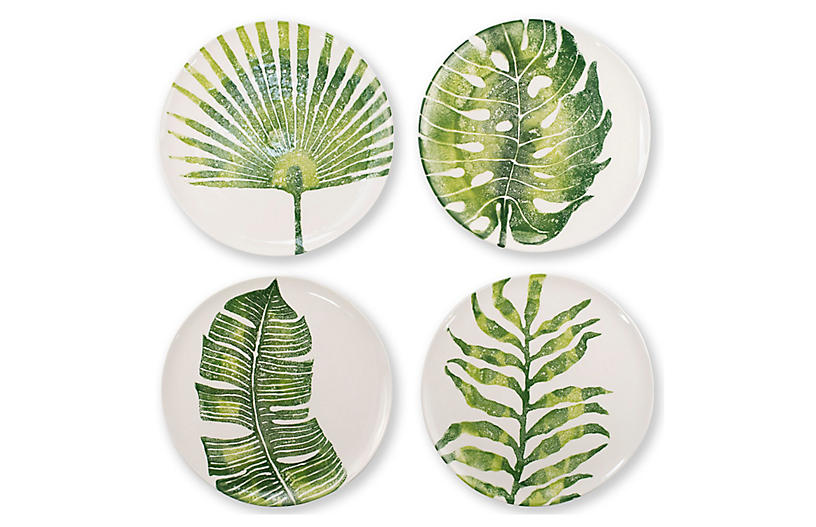 Asst. of 4 Into The Jungle Dinner Plates, White