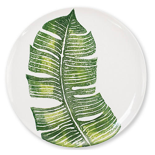 Into The Jungle Banana Leaf Dinner Plate, White