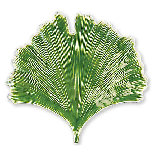 Reactive Leaves Ginkgo Leaf Plate, Green