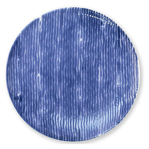 Santorini Stripe Salad Plate, Blue/White