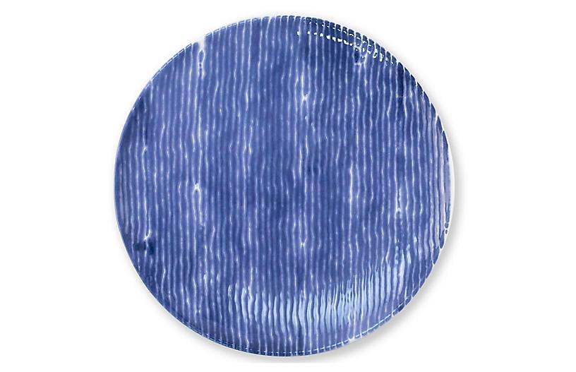 Santorini Stripe Salad Plate, Blue/White