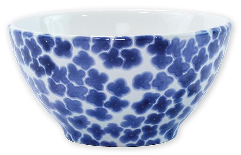 Santorini Flower Cereal Bowl, Blue/White