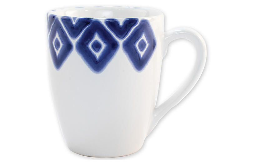 Santorini Diamond Mug, Blue/White