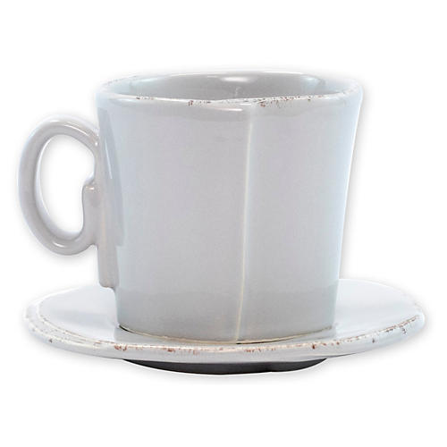 Lastra Espresso Cup & Saucer, Light Gray
