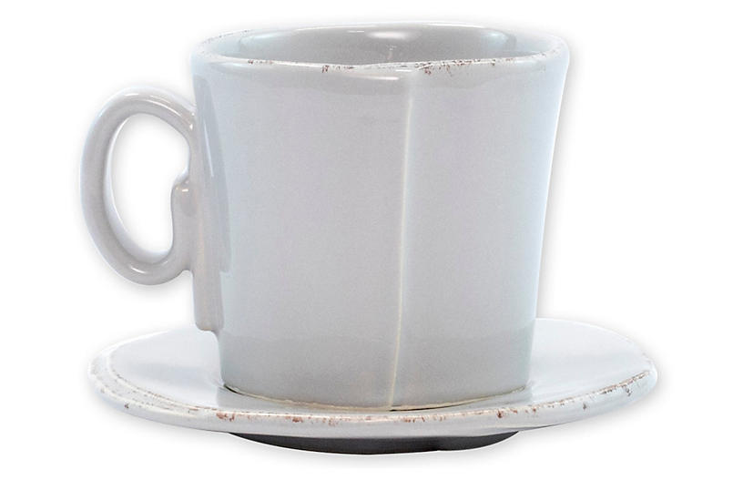 Lastra Espresso Cup & Saucer, Light Gray