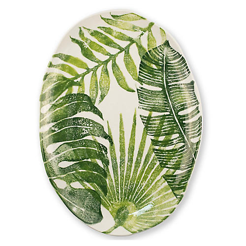 Into The Jungle Oval Platter, White