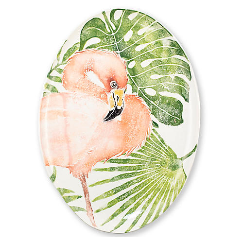 Into The Jungle Oval Flamingo Platter, Green