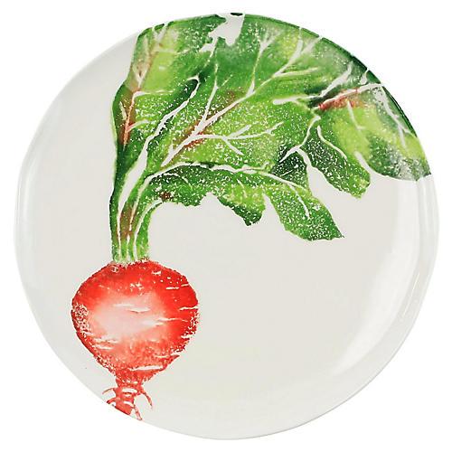 Spring Vegetables Radish Salad Plate, White
