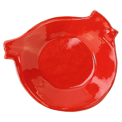 Lastra Holiday Bird Canape Plate, Red