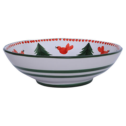 Uccelll Rosso Serving Bowl, Ivory/Multi