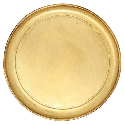 Wooden Round Tray, Gold