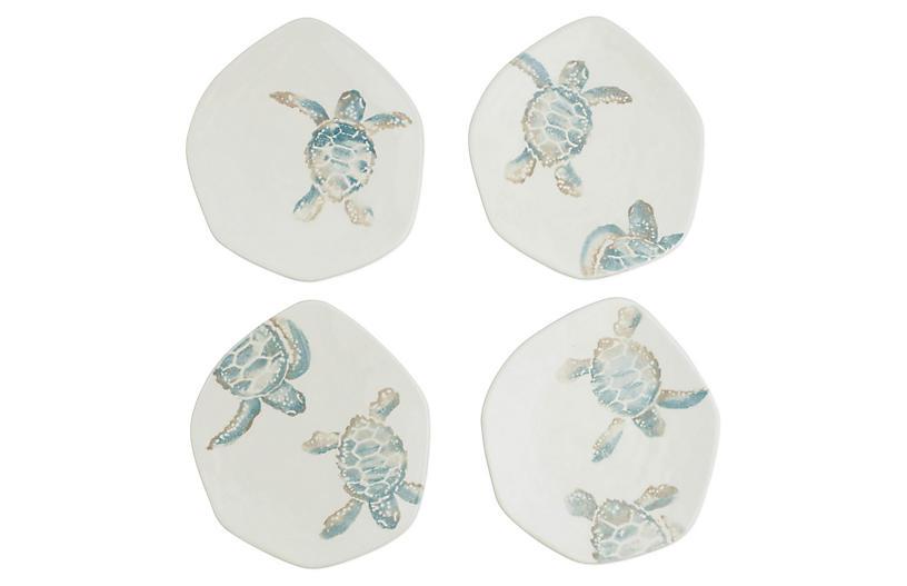Asst. of 4 Tartaruga Salad Plates, Ivory/Blue