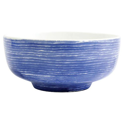Santorini Stripe Footed Serving Bowl, White/Blue