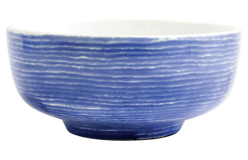 Santorini Stripe Footed Serving Bowl, White/Blue