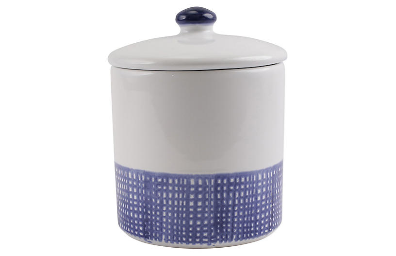 Santorini Geo Medium Canister, White/Blue