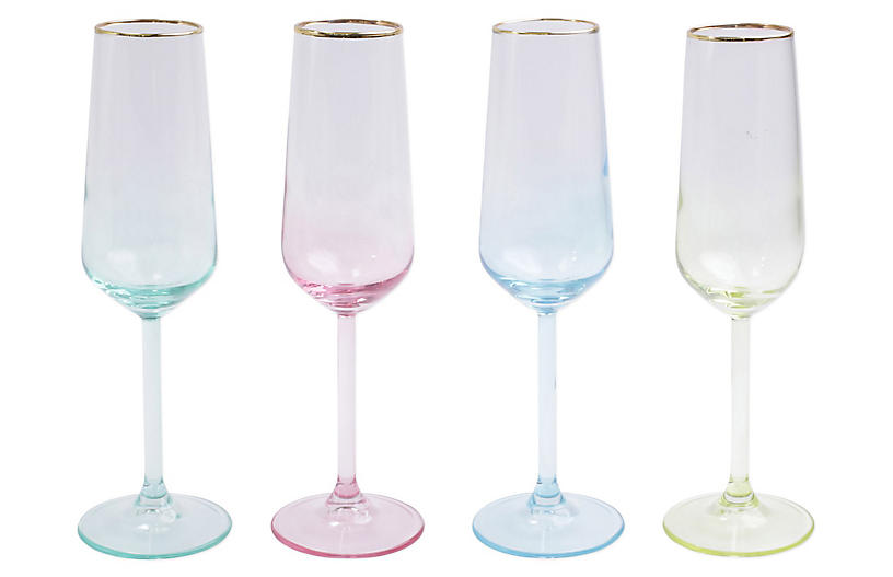 Asst. of 4 Rainbow Champagne Flutes, Clear