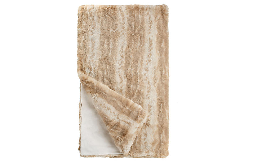Elena Faux Fur Throw, Blonde Mink