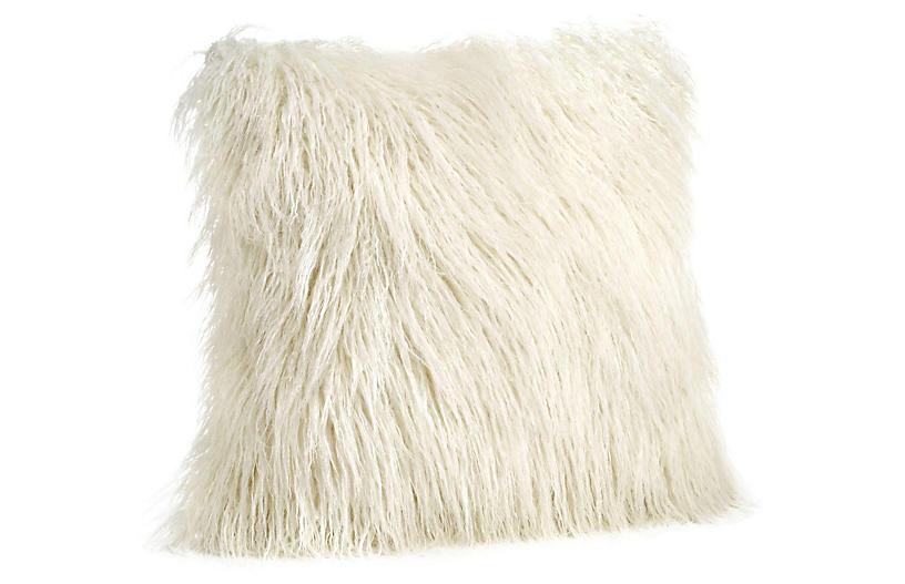 Vivian Faux Fur Pillow, Ivory Tibetan Lamb