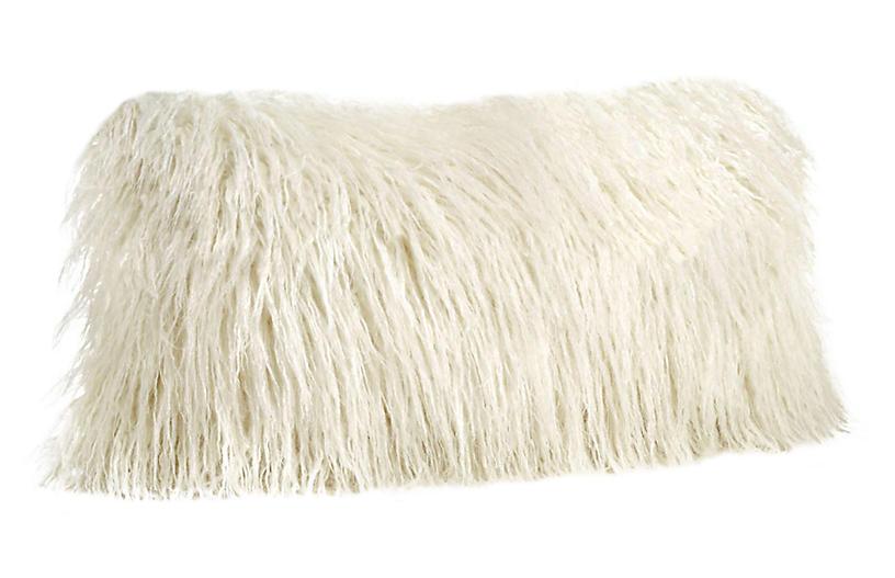 Vivian 12x22 Faux Fur Lumbar Pillow, Ivory Tibetan Lamb