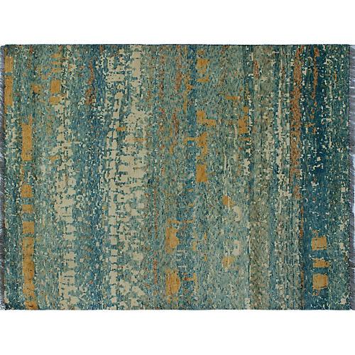 """4'10""""x6'6"""" Baluchi Natalie Rug, Ivory/Blue"""