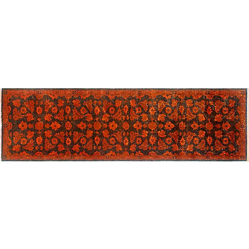 "2'4""x7'10"" Overdyed Delfina Runner, Orange/Brown"