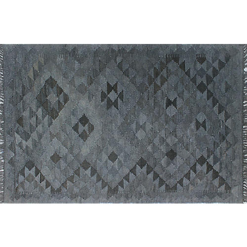 "2'8""x4'2"" Overyded William Kilim Rug, Gray/Black"