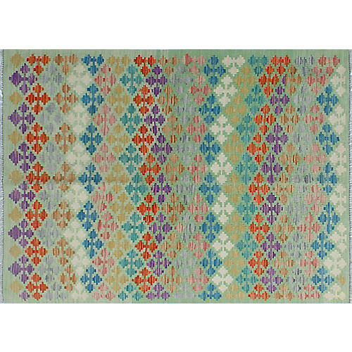 "4'3""x5'8"" Sangat Drew Kilim Rug, Light Green/Ivory"