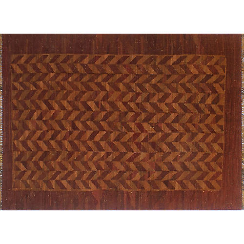 "4'10""x6'8"" Overyded Admiel Kilim Rug, Rust/Orange"