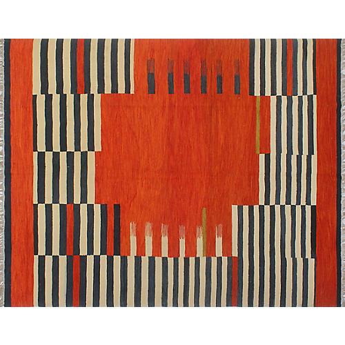 """8'x9'10"""" Winchester Troy Kilim Rug, Orange/Ivory"""