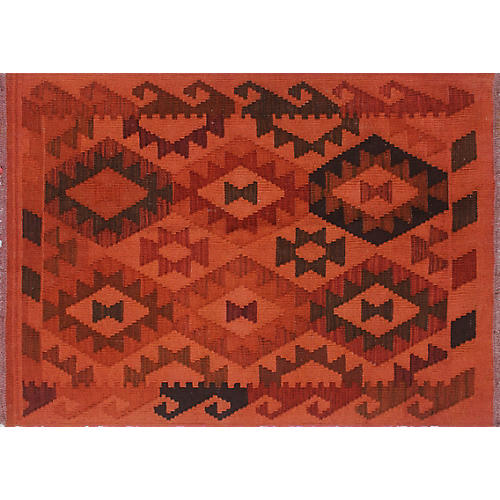 "2'11""x4'3"" Mairin Kilim, Orange/Red"