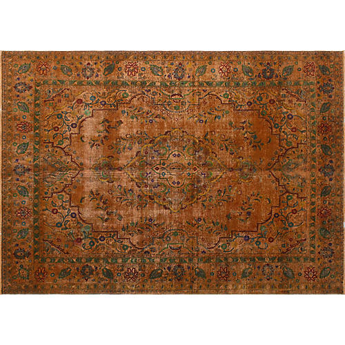 "9'x12'5"" Lufti Overdyed Rug, Rust/Green"